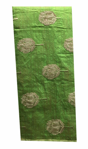 Image of embroidered fabric for dresses buy cloth material online india Embroidered Cotton Light Green, Gold 43 inches Wide 8098