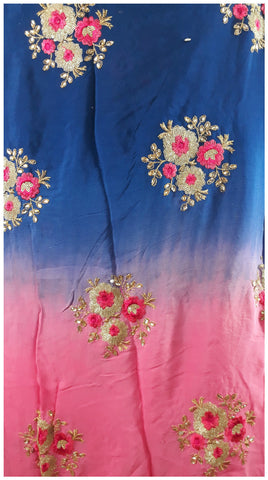 buy fabric online wholesale india embroidery dress material Chiffon Pink, Blue 44 inches Wide 1716