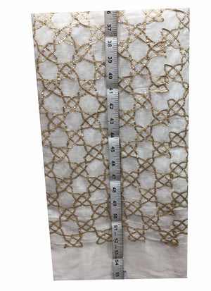 embroidery material online shopping fancy embroidered fabrics Chiffon White, Gold 41 inches Wide 8067