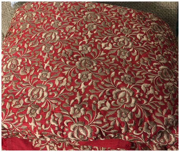embroidery blouse material embroidery items online Dupion Silk Red, Brown 41 inches Wide 8069