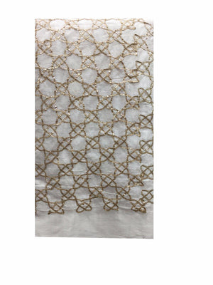 blouse fabric online fancy embroidered fabrics Chiffon White, Gold 41 inches Wide 8067
