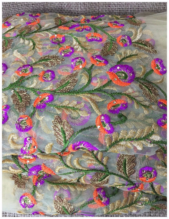 designer fabric online india plain saree material online Embroidered, Stone Net, Mesh, Tulle Beige, Brown, Purple, Orange, Green, Gold 41 inches Wide 8082