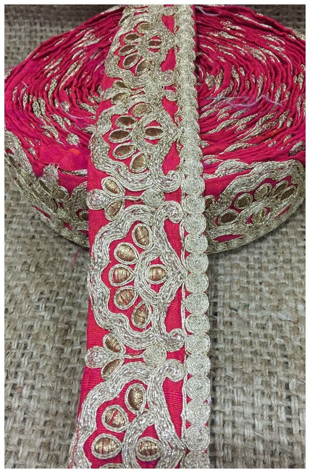 decorative trim for clothing beaded bridal trim by the yard Blue Copper Embroidered Cotton mix/ Slub Less than 3 inch