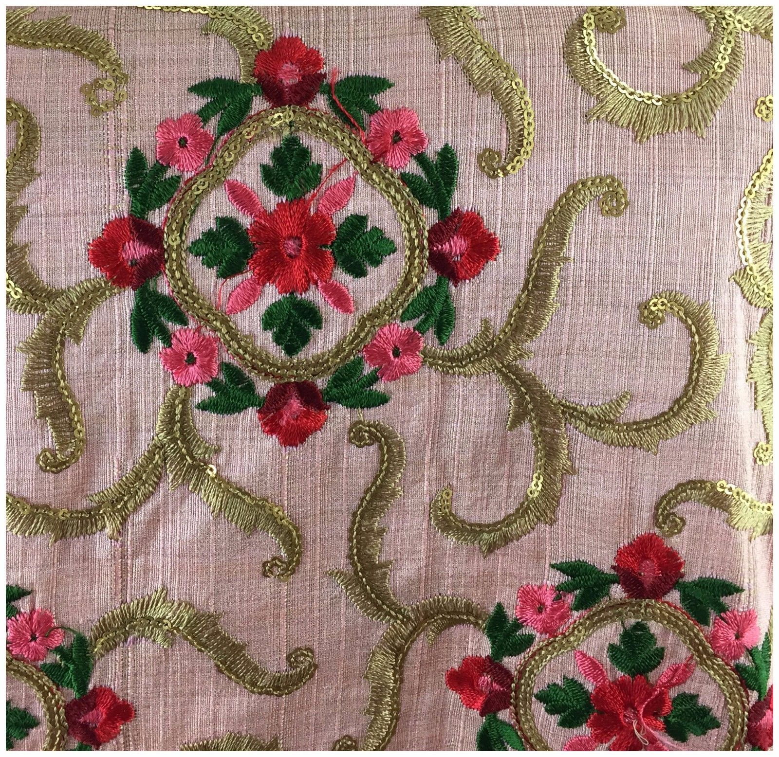 buy material online buy blouse fabric online india Embroidered, Sequins Cotton Mix / Slub Pink, Gold, Red, Pink 48 inches Wide 9020