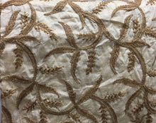 Load image into Gallery viewer, embroidery things online online designer fabric store india Embroidered, Sequins Slub Beige, Brown, Gold 43 inches Wide 8063