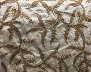 embroidery things online online designer fabric store india Embroidered, Sequins Slub Beige, Brown, Gold 43 inches Wide 8063