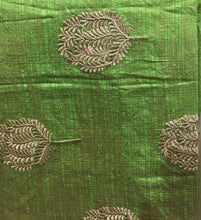 Load image into Gallery viewer, indian embroidered fabric buy cloth material online india Embroidered Cotton Light Green, Gold 43 inches Wide 8098