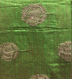 indian embroidered fabric buy cloth material online india Embroidered Cotton Light Green, Gold 43 inches Wide 8098