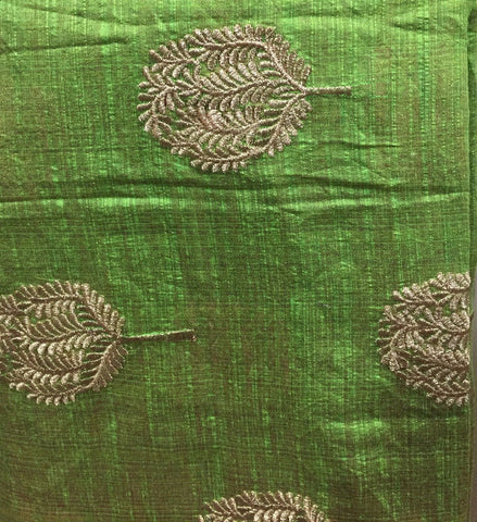 Image of indian embroidered fabric buy cloth material online india Embroidered Cotton Light Green, Gold 43 inches Wide 8098