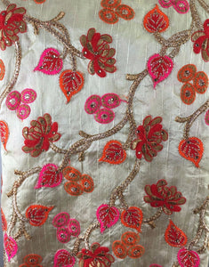 ethnic material online shop embroidery material online india Dupion Silk Cream, Pink, Red, Orange, Gold, Brown 42 inches Wide 8047