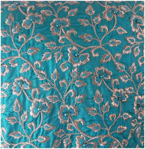 white cloth material online india fabric wholesale online india Embroidered Paper Silk Torquoise Blue 42 inches Wide 8046