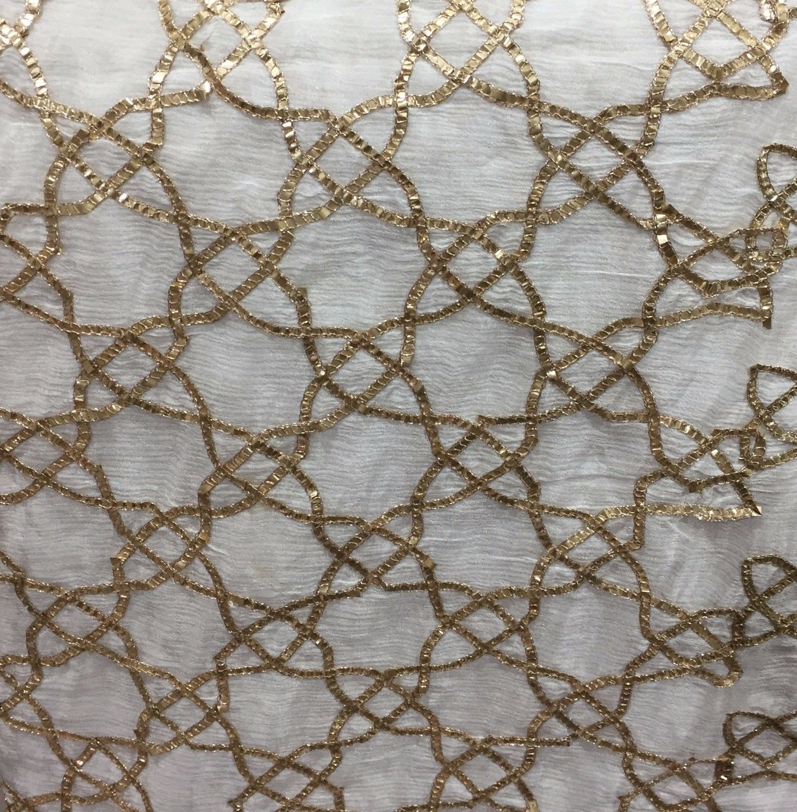 embroidery fabric online fancy embroidered fabrics Chiffon White, Gold 41 inches Wide 8067