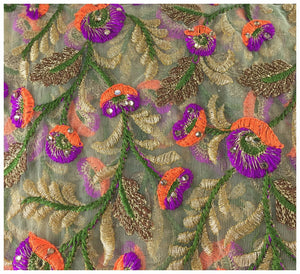 embroidery fabric online india plain saree material online Embroidered, Stone Net, Mesh, Tulle Beige, Brown, Purple, Orange, Green, Gold 41 inches Wide 8082