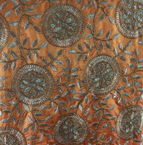 Image of saree material online saree material online Embroidered Paper Silk Orange Yellow, Gold 43 inches Wide 8061