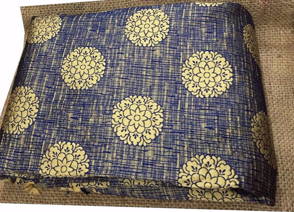 lace fabric online india running fabrics online india Jaquard Polyester Mix Blue, Dark Beige 50 inches Wide 9051