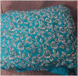 indian fabric shop fabric wholesale online india Embroidered Paper Silk Torquoise Blue 42 inches Wide 8046