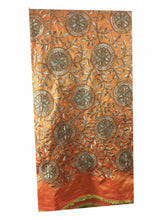 Load image into Gallery viewer, online designer fabric store india saree material online Embroidered Paper Silk Orange Yellow, Gold 43 inches Wide 8061