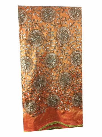 Image of online designer fabric store india saree material online Embroidered Paper Silk Orange Yellow, Gold 43 inches Wide 8061