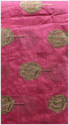 Image of designer blouse fabric online plain dress material online Embroidered Cotton Pink, Gold 43 inches Wide 8099
