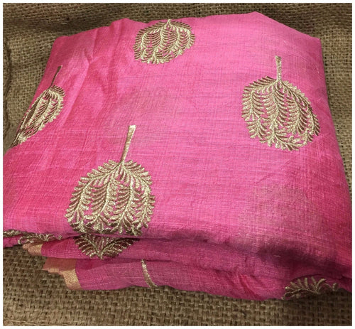 fabric online india plain dress material online Embroidered Cotton Pink, Gold 43 inches Wide 8099