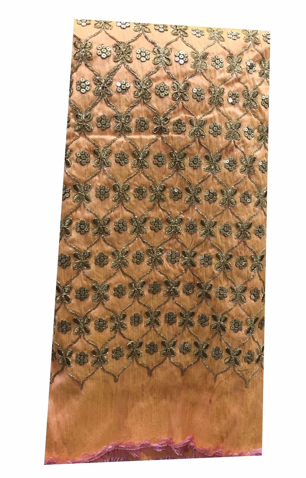 buy embroidered fabric online india blouse material online india Embroidered, Sequins Dupion Silk Peach, Gold 47 inches Wide 8064