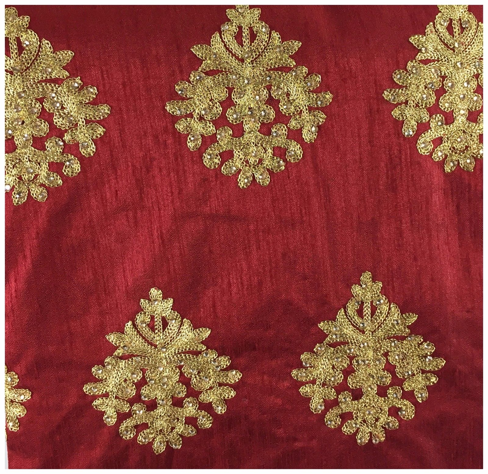 fabric material online running material online shopping Embroidered Dupion Silk Red, Gold 43 inches Wide 8056