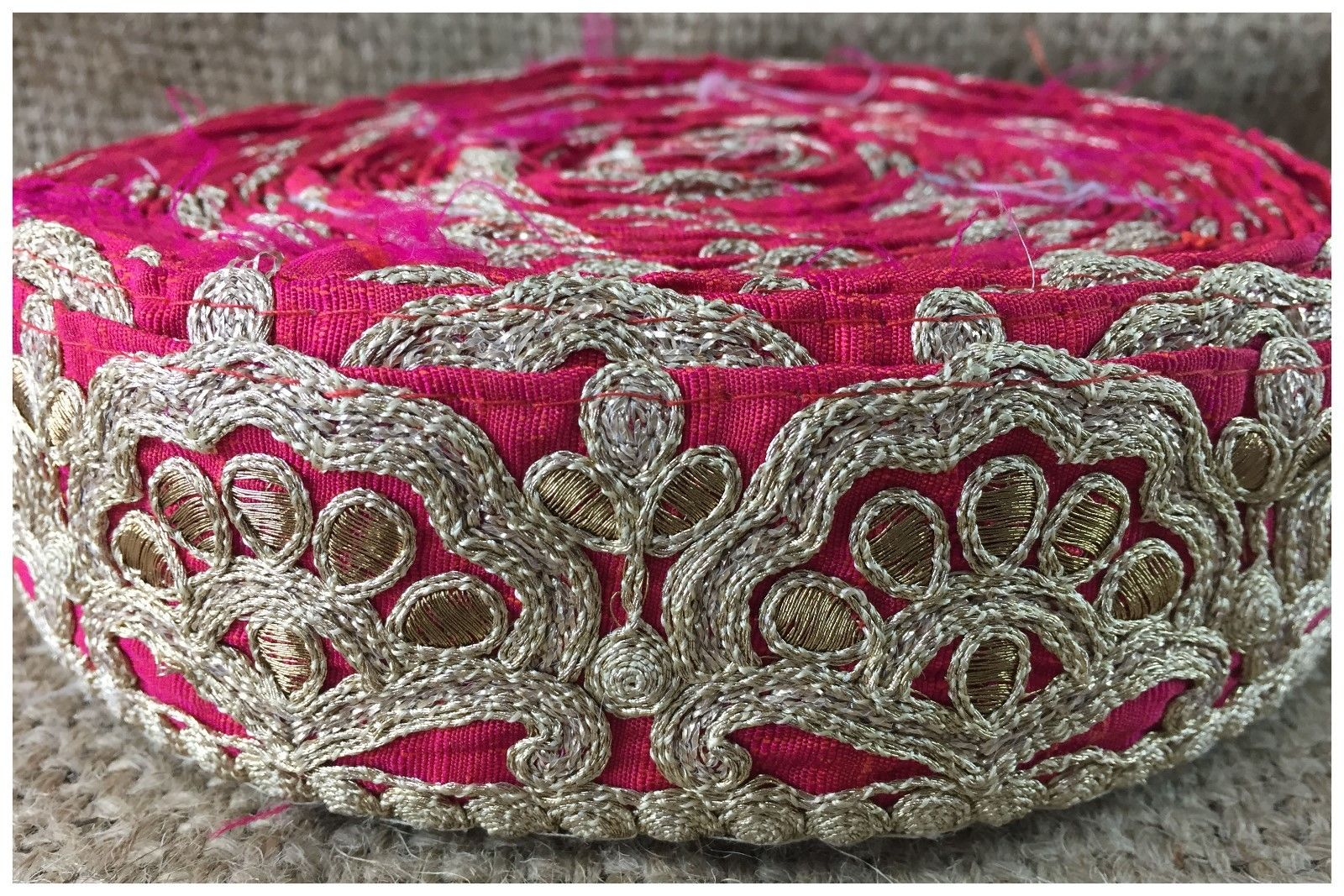 decorative lace trim wholesale fabric trim suppliers Pink Gold, Copper Embroidered 3D Silk Less than 2 inch
