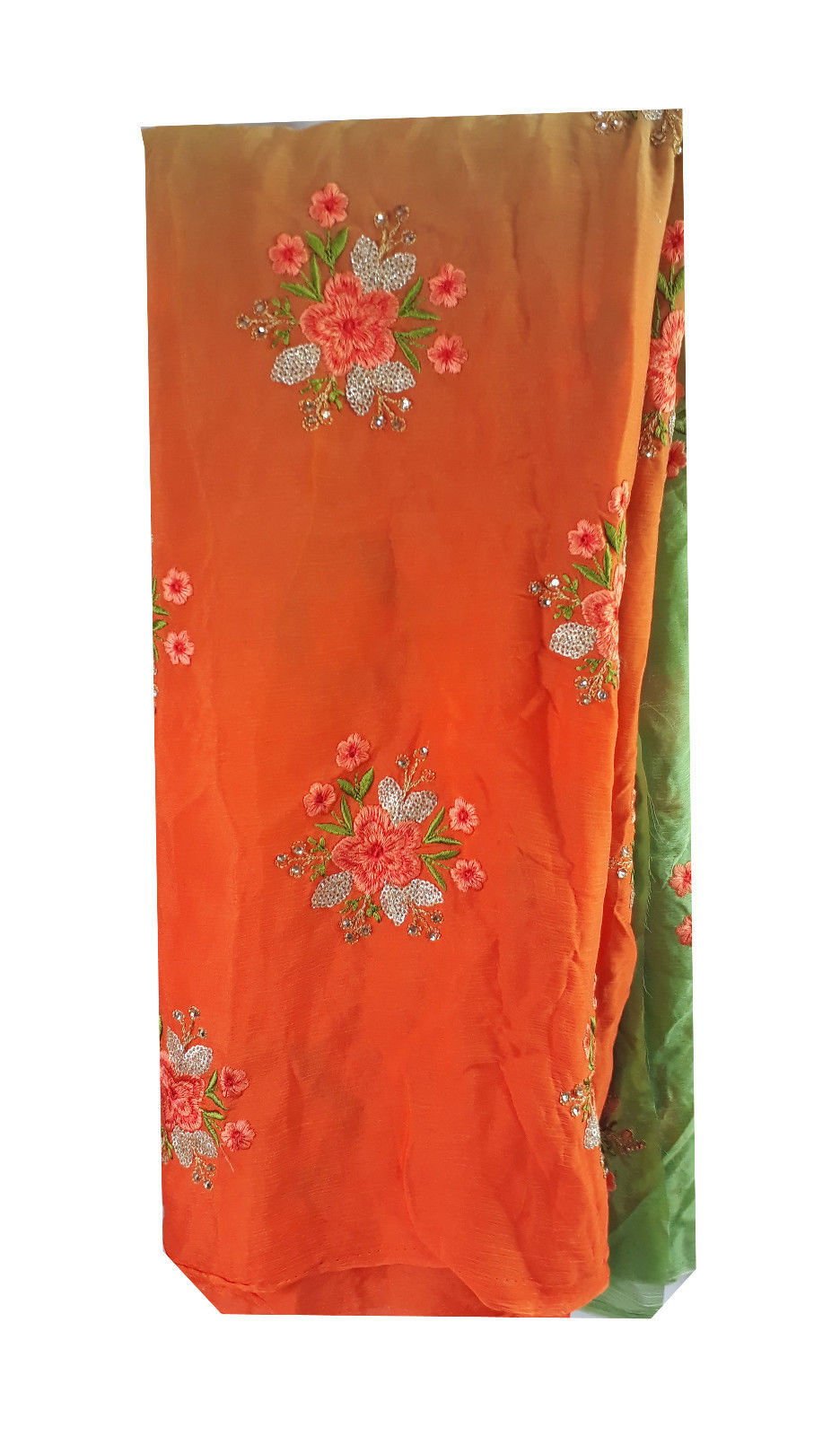 embroidery beads online embroidery fabric suppliers Chiffon Orange, Green, Gold 44 inches Wide 1715
