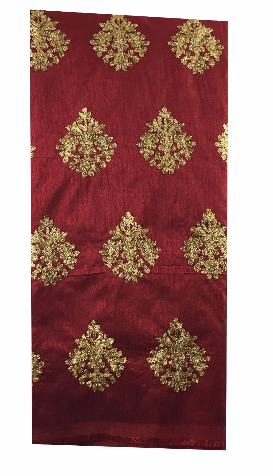 buy lace fabric online india running material online shopping Embroidered Dupion Silk Red, Gold 43 inches Wide 8056
