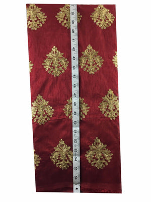 white embroidered material running material online shopping Embroidered Dupion Silk Red, Gold 43 inches Wide 8056