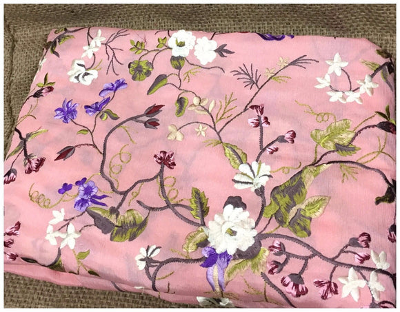 embroidery fabric for sale embroidery fabric designs Chiffon Peach Pink, White, Lavender, Olive Green 44 inches Wide 8054