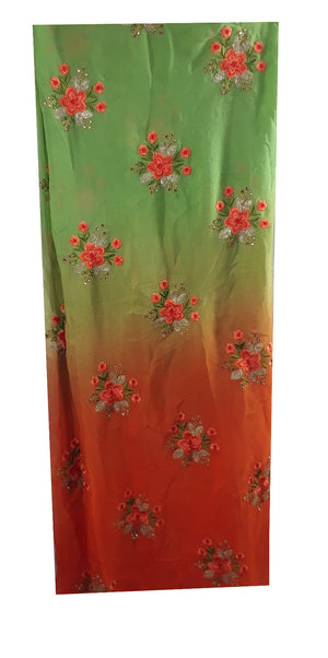 online fabric shopping india embroidery fabric suppliers Chiffon Orange, Green, Gold 44 inches Wide 1715