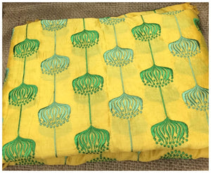 churidar running material online shopping cloth material online india Embroidered Chanderi Silk Yellow, Green 44 inches Wide 8090