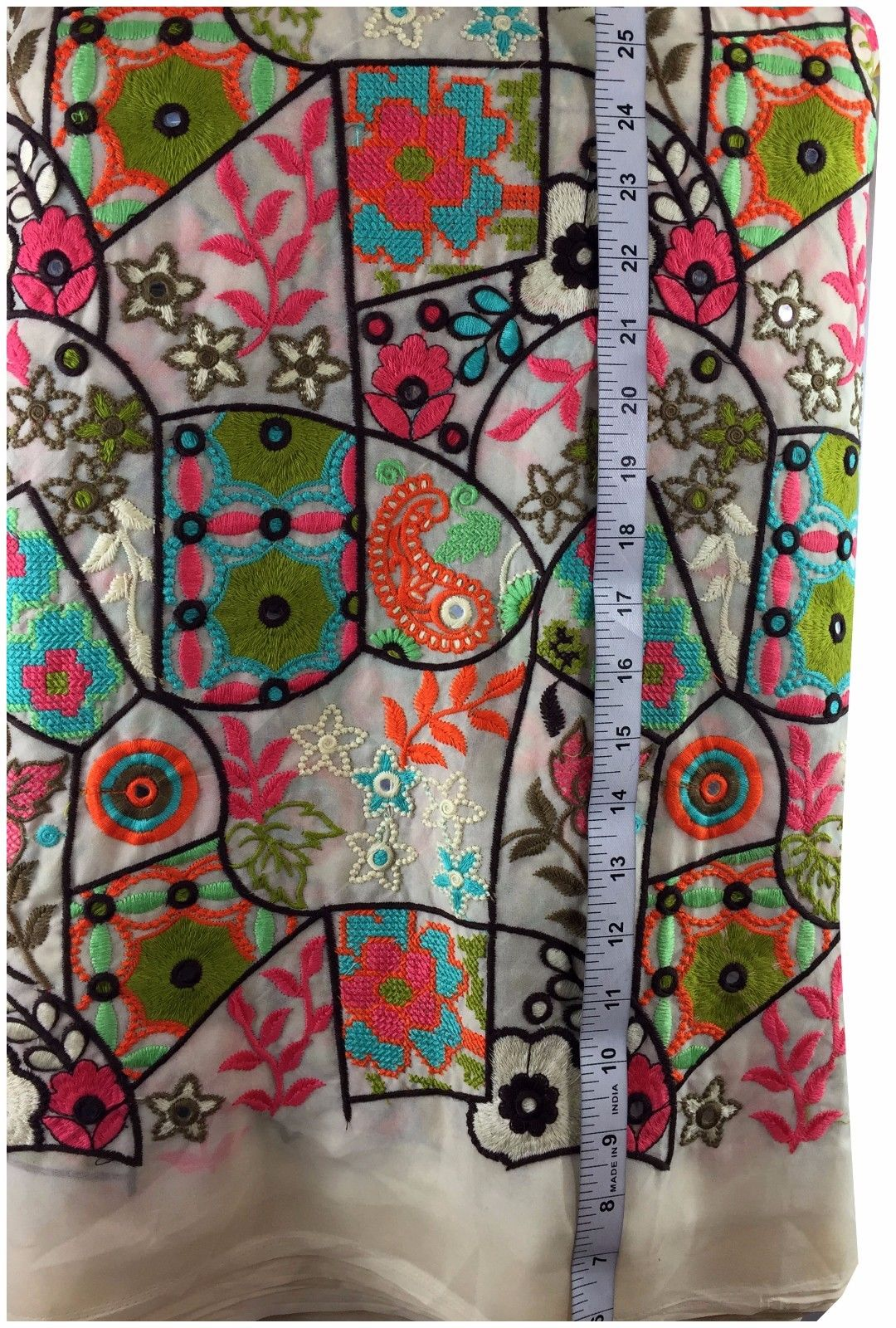 buy fabric material online india running material online india Embroidered Georgette Cream, Orange, Torquoise Blue, Pink, Orange, Green, Pista Green 44 inches Wide 9017