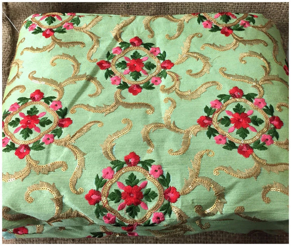 embroidery fabric for sale plain dress material online shopping Embroidered, Sequins Cotton Mix / Slub Green, Gold, Red, Pink 48 inches Wide 9019