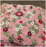 buy embroidered fabric kutch embroidery fabric online Cotton Mix / Slub Pink, Green, Red, White, Gold 45 inches Wide 8075