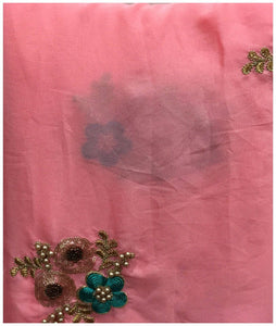 buy material designer embroidered fabric Velcono Pink, Cyan Green, bright gold, Antique Gold 43 inches Wide 8060