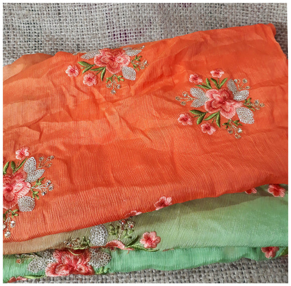 indian fabric store embroidery fabric suppliers Chiffon Orange, Green, Gold 44 inches Wide 1715