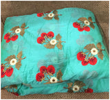 online cloth material shopping buy blouse material online india Embroidered Chanderi Sea Green, Red, Blue, Gold, White 42 inches Wide 9007