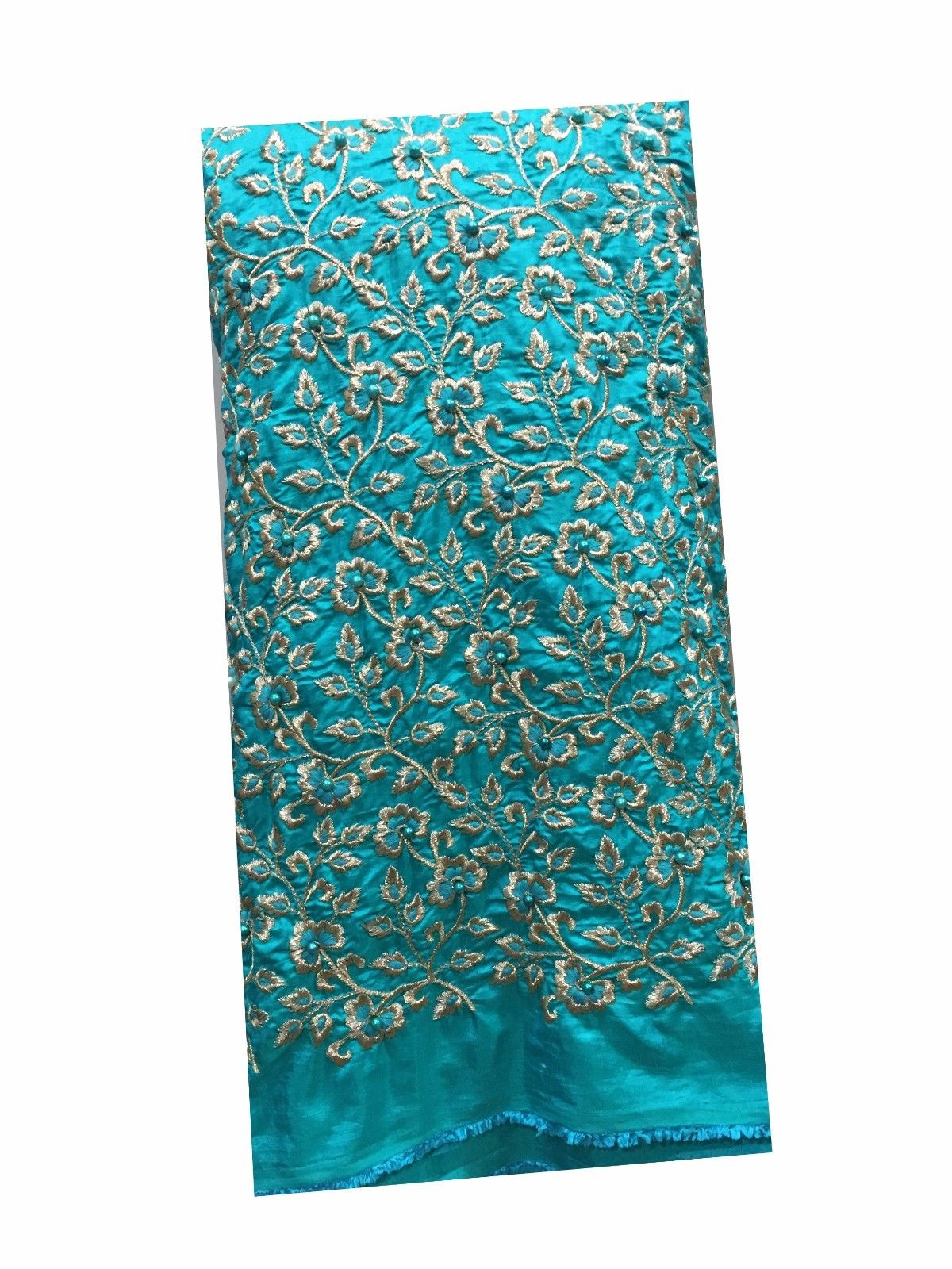 kutch embroidery blouse material online fabric wholesale online india Embroidered Paper Silk Torquoise Blue 42 inches Wide 8046