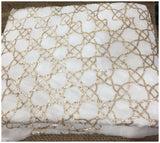 blouse material online fancy embroidered fabrics Chiffon White, Gold 41 inches Wide 8067