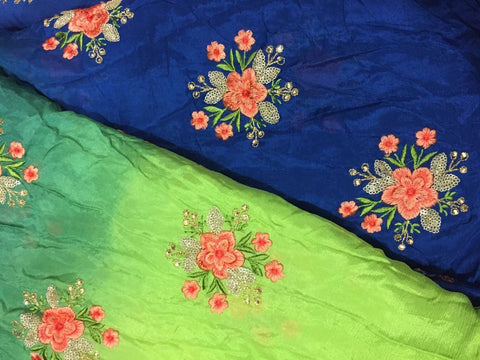 embroidery fabric designs embroidery cloth materials Chiffon Blue, Green, Peacock Green 44 inches Wide 1717