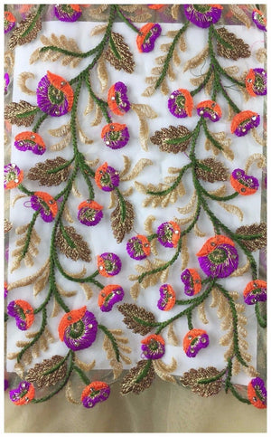 fancy embroidered fabrics plain saree material online Embroidered, Stone Net, Mesh, Tulle Beige, Brown, Purple, Orange, Green, Gold 41 inches Wide 8082