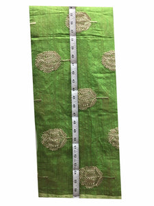 designer blouse material buy cloth material online india Embroidered Cotton Light Green, Gold 43 inches Wide 8098