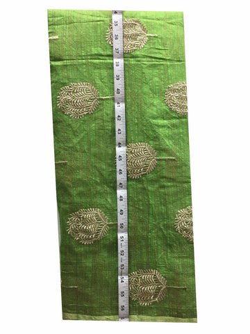 Image of designer blouse material buy cloth material online india Embroidered Cotton Light Green, Gold 43 inches Wide 8098