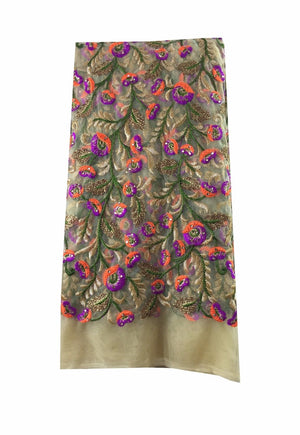 embroidery items online plain saree material online Embroidered, Stone Net, Mesh, Tulle Beige, Brown, Purple, Orange, Green, Gold 41 inches Wide 8082