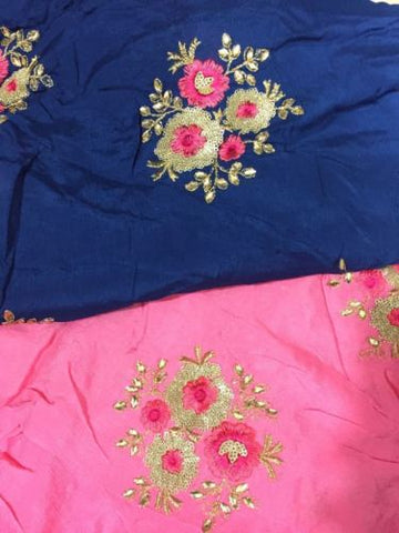 indian embroidery fabric embroidery dress material Chiffon Pink, Blue 44 inches Wide 1716