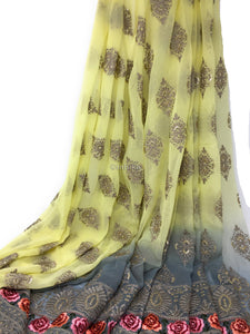 Shaded Fabric, Embroidered Goergette Material, Rida Fabric Yellow Grey