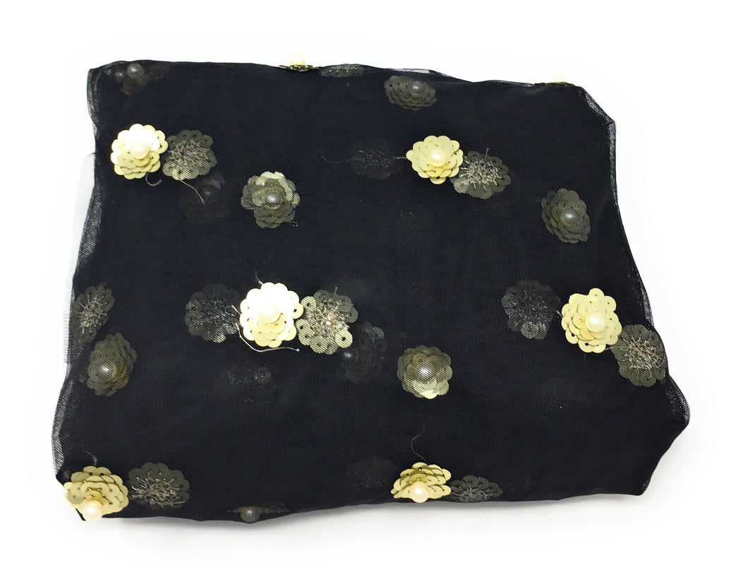 Black Beaded Fabric