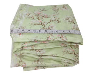 floral printed linen fabric in Green